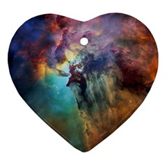 Lagoon Nebula Interstellar Cloud Pastel Pink, Turquoise And Yellow Stars Heart Ornament (two Sides)