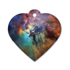 Lagoon Nebula Interstellar Cloud Pastel Pink, Turquoise And Yellow Stars Dog Tag Heart (one Side)