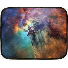 Lagoon Nebula Interstellar Cloud Pastel Pink, Turquoise And Yellow Stars Double Sided Fleece Blanket (mini)  by snek
