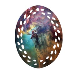 Lagoon Nebula Interstellar Cloud Pastel Pink, Turquoise And Yellow Stars Oval Filigree Ornament (two Sides)