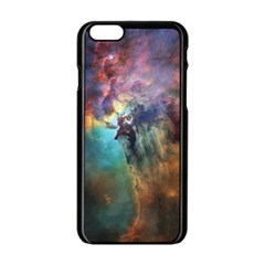 Lagoon Nebula Interstellar Cloud Pastel Pink, Turquoise And Yellow Stars Apple Iphone 6/6s Black Enamel Case by snek