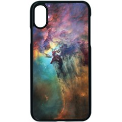 Lagoon Nebula Interstellar Cloud Pastel Pink, Turquoise And Yellow Stars Apple Iphone X Seamless Case (black)
