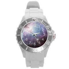 Orion Nebula Pastel Violet Purple Turquoise Blue Star Formation Round Plastic Sport Watch (l) by snek