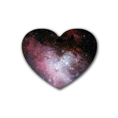 Eagle Nebula Wine Pink And Purple Pastel Stars Astronomy Heart Coaster (4 Pack)