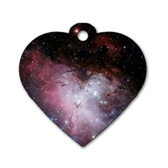 Eagle Nebula Wine Pink And Purple Pastel Stars Astronomy Dog Tag Heart (two Sides)