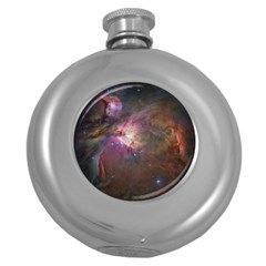Orion Nebula Star Formation Orange Pink Brown Pastel Constellation Astronomy Round Hip Flask (5 Oz) by snek