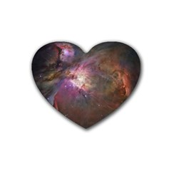 Orion Nebula Star Formation Orange Pink Brown Pastel Constellation Astronomy Heart Coaster (4 Pack)  by snek