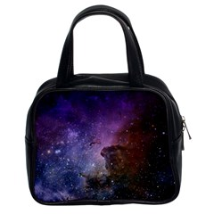 Carina Nebula Ngc 3372 The Grand Nebula Pink Purple And Blue With Shiny Stars Astronomy Classic Handbag (two Sides) by genx