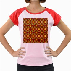 Abstract Floral Pattern Background Women s Cap Sleeve T Shirt