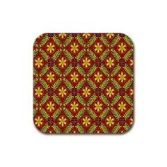 Abstract Floral Pattern Background Rubber Coaster (square)