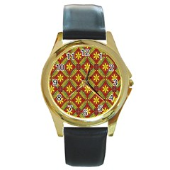 Abstract Floral Pattern Background Round Gold Metal Watch