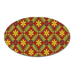 Abstract Floral Pattern Background Oval Magnet