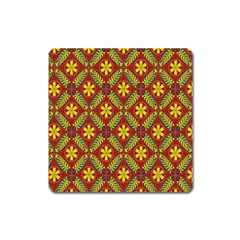 Abstract Floral Pattern Background Square Magnet