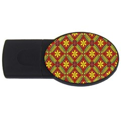 Abstract Floral Pattern Background Usb Flash Drive Oval (2 Gb)