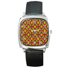 Abstract Floral Pattern Background Square Metal Watch