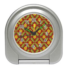 Abstract Floral Pattern Background Travel Alarm Clock