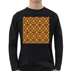 Abstract Floral Pattern Background Long Sleeve Dark T Shirt