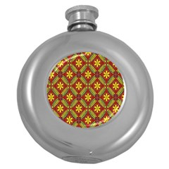 Abstract Floral Pattern Background Round Hip Flask (5 Oz)