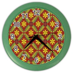 Abstract Floral Pattern Background Color Wall Clock