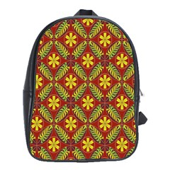 Abstract Floral Pattern Background School Bag (large)