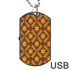 Abstract Floral Pattern Background Dog Tag Usb Flash (one Side)