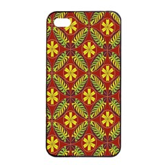Abstract Floral Pattern Background Apple Iphone 4/4s Seamless Case (black)