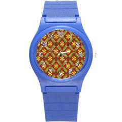 Abstract Floral Pattern Background Round Plastic Sport Watch (s)