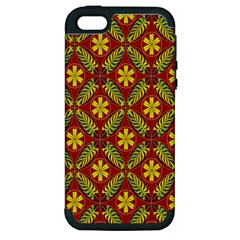 Abstract Floral Pattern Background Apple Iphone 5 Hardshell Case (pc+silicone)