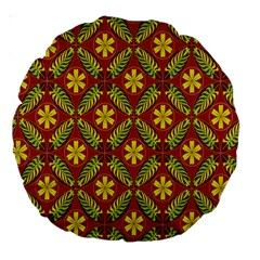 Abstract Floral Pattern Background Large 18  Premium Round Cushions