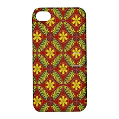 Abstract Floral Pattern Background Apple Iphone 4/4s Hardshell Case With Stand