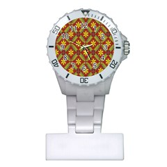 Abstract Floral Pattern Background Plastic Nurses Watch