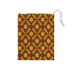 Abstract Floral Pattern Background Drawstring Pouch (medium)