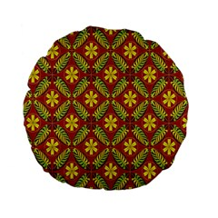 Abstract Floral Pattern Background Standard 15  Premium Flano Round Cushions