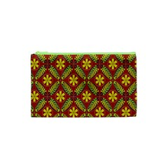 Abstract Floral Pattern Background Cosmetic Bag (xs)