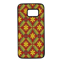 Abstract Floral Pattern Background Samsung Galaxy S7 Black Seamless Case