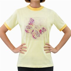 Colorful Butterfly Purple Women s Fitted Ringer T Shirt