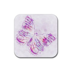 Colorful Butterfly Purple Rubber Coaster (square)