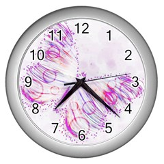 Colorful Butterfly Purple Wall Clock (silver)