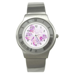 Colorful Butterfly Purple Stainless Steel Watch