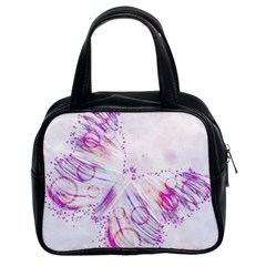 Colorful Butterfly Purple Classic Handbag (two Sides)