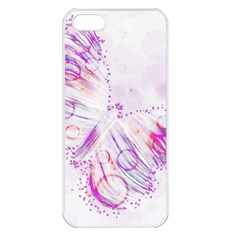 Colorful Butterfly Purple Apple Iphone 5 Seamless Case (white)