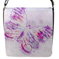 Colorful Butterfly Purple Flap Closure Messenger Bag (s)