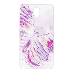Colorful Butterfly Purple Samsung Galaxy Note 3 N9005 Hardshell Back Case by Mariart
