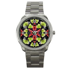 Pattern Berry Red Currant Plant Sport Metal Watch