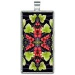 Pattern Berry Red Currant Plant Rectangle Necklace Front