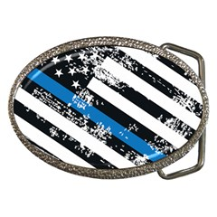 Usa Flag The Thin Blue Line I Back The Blue Usa Flag Grunge On White Background Belt Buckles by snek