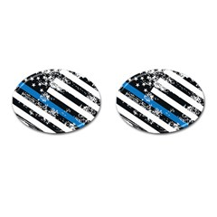 Usa Flag The Thin Blue Line I Back The Blue Usa Flag Grunge On White Background Cufflinks (oval) by snek