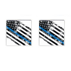 Usa Flag The Thin Blue Line I Back The Blue Usa Flag Grunge On White Background Cufflinks (square) by snek