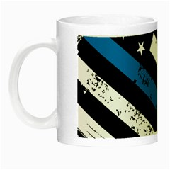 Usa Flag The Thin Blue Line I Back The Blue Usa Flag Grunge On Black Background Night Luminous Mugs by snek