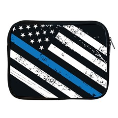 Usa Flag The Thin Blue Line I Back The Blue Usa Flag Grunge On Black Background Apple Ipad 2/3/4 Zipper Cases by snek